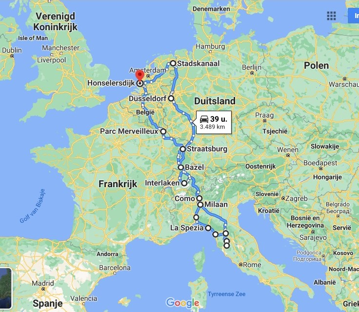 route roadtrip door europa